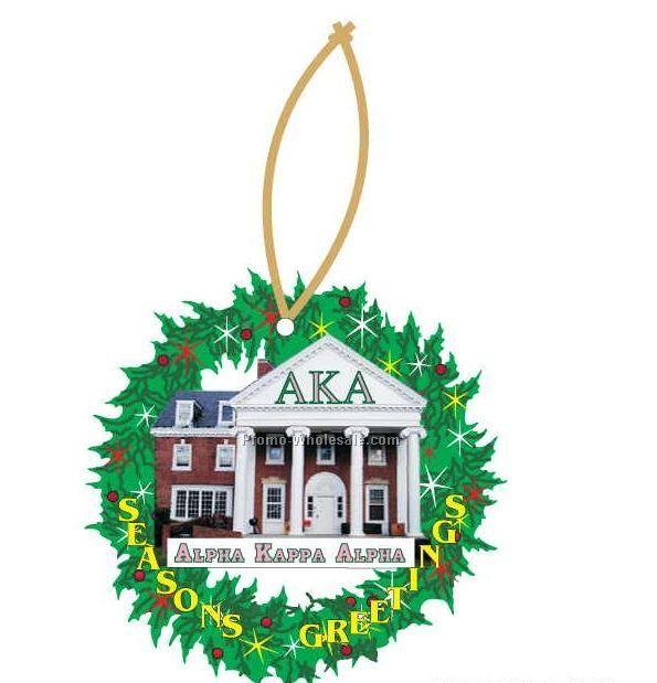 Alpha Kappa Alpha Sorority House Wreath Ornament W/ Mirror Back(8 Sq. Inch)