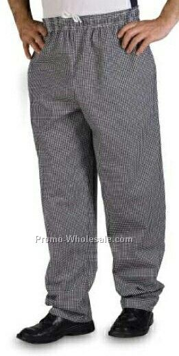 Black & White Check 7 Oz. Poly Cotton Baggy Chef Pant - (5xl-6xl)