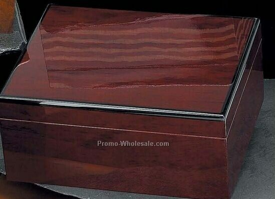 Cedar Lined Cherry Humidor With Hygrometer & Humistat (60 Cigars)