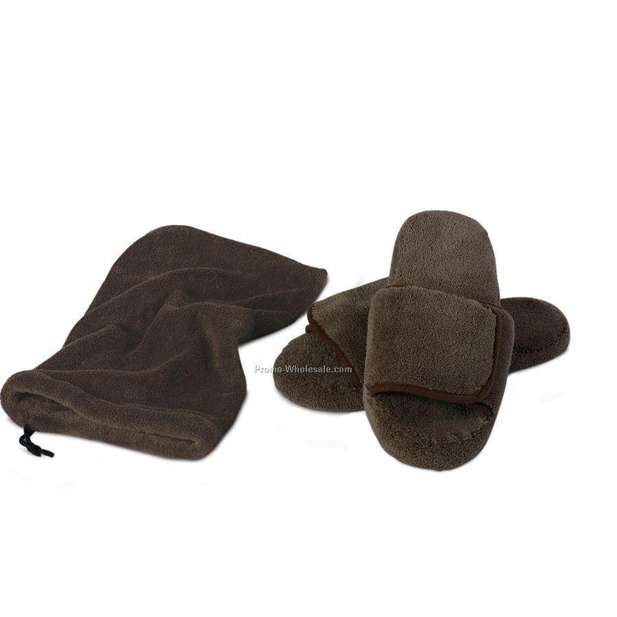 Chocolate Brown S-m Velura(Tm) Slippers W/ Pouch