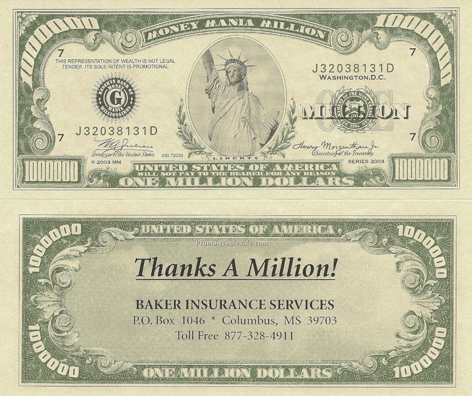 Million Dollar Bill With Custom Back