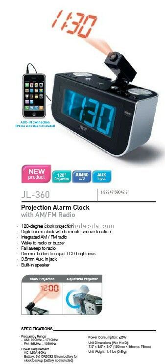 Projection Alarm Clock W/AM/FM Radio