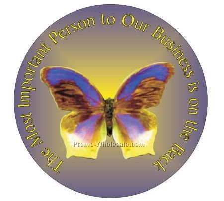 "Purple/ Yellow Butterfly Round Photo Hand Mirror W/Full Mirror Back(2-1/2"")"