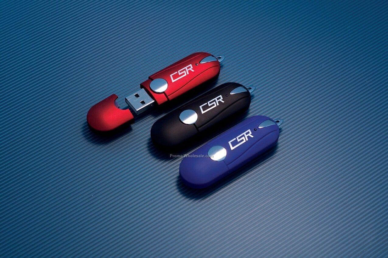 Rubberized USB Flash Drive W/Gloss Case