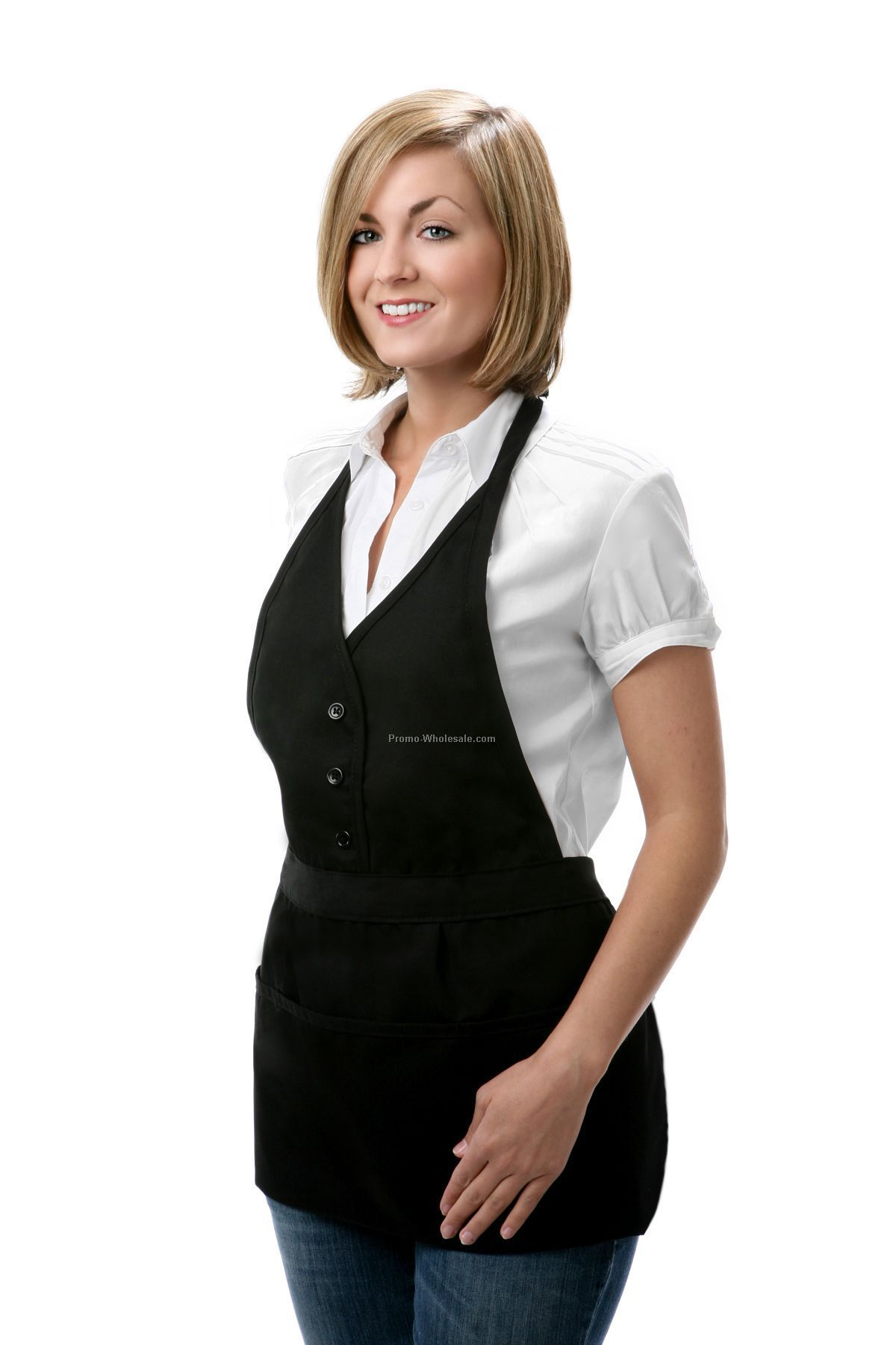 Single Breasted Bib Apron - Black