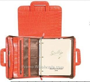 Sunset Italian Leather Zip Binder W/ Drop Handles