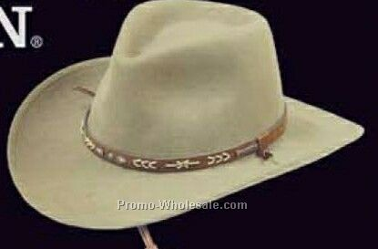 Taupe Brown Felt Stetson Legendary Hats W/ Leather Strap