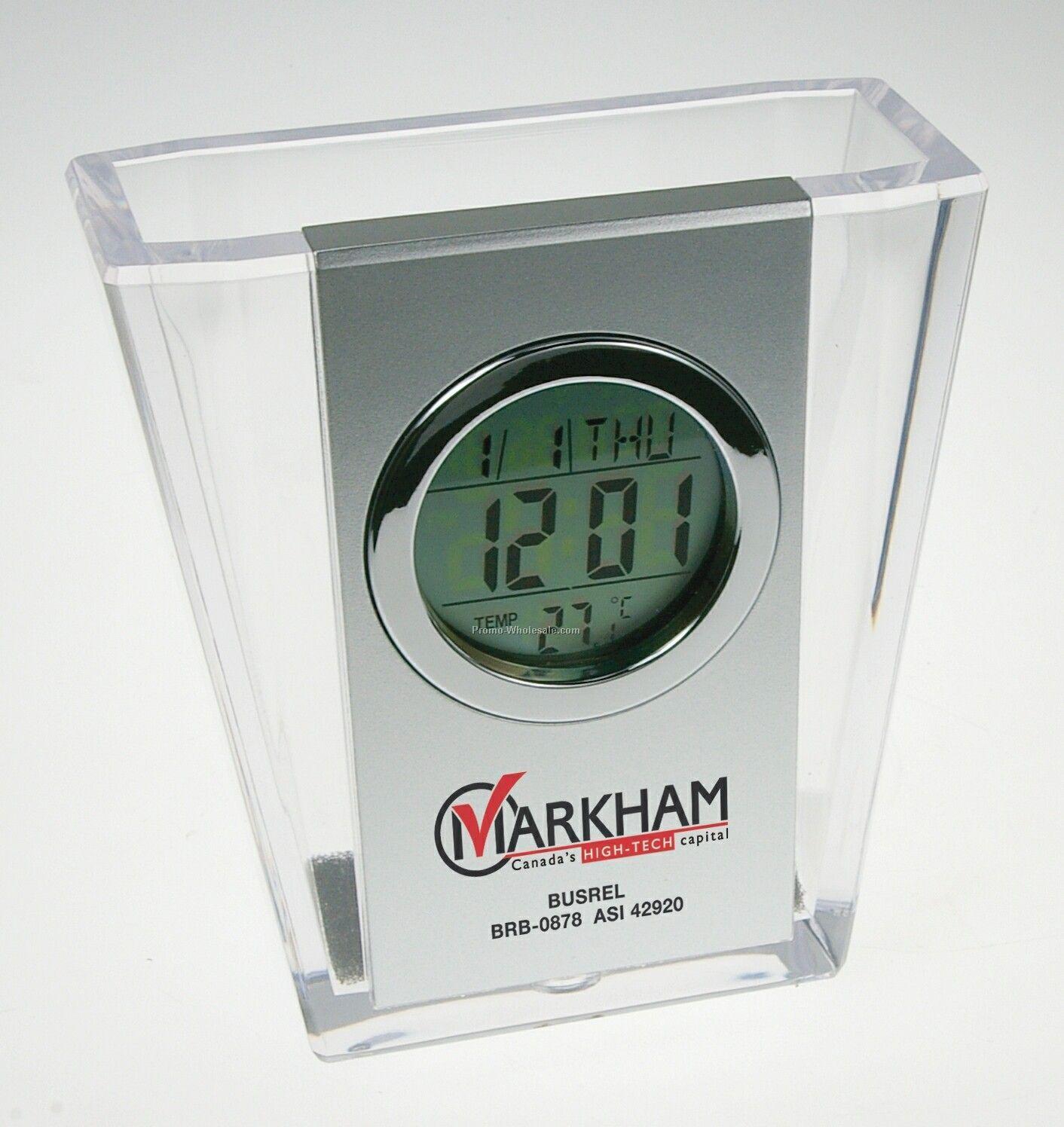 Transparent Acrylic Pen Holder W/ Clock, Calendar & Thermometer