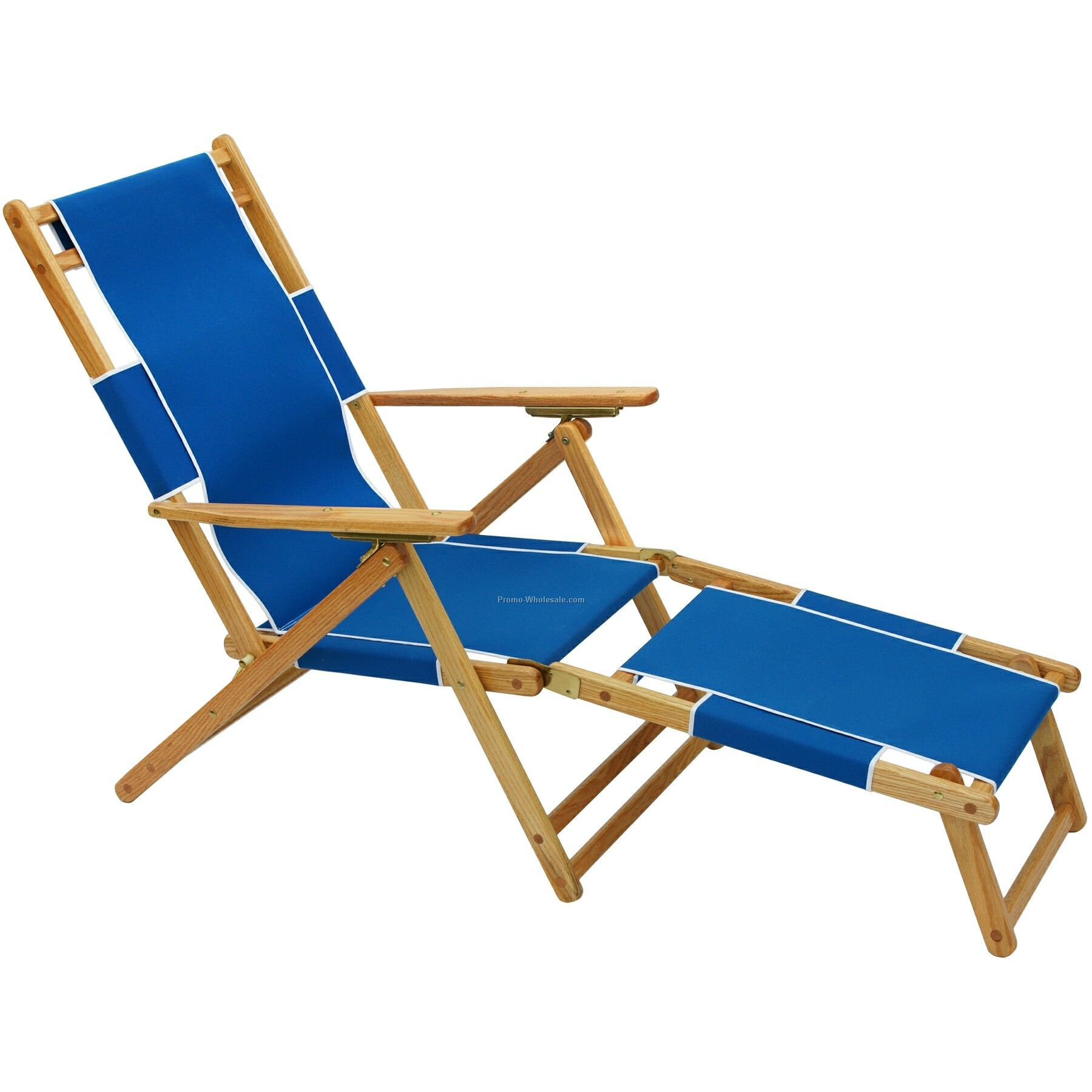 Us Made Deluxe Solid Oak Hardwood Frame Folding Beach Lounger