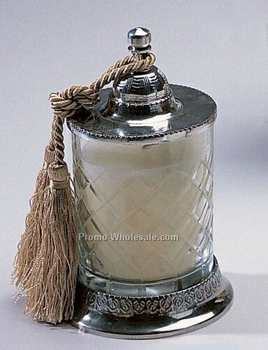 Vanilla Scented Covered Candle Jar W/ Tassel