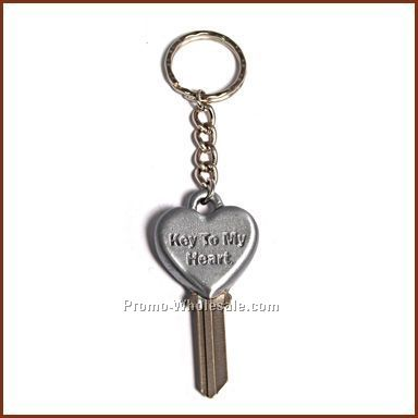 "1-1/4"" Heart Brushed Finish House Key"