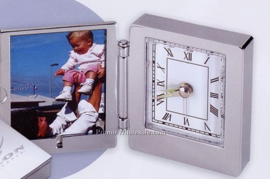 "2-1/4""x2-1/2"" Silver Finish Foldable Analog Clock W/ Picture Frame"