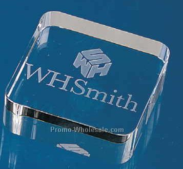 """2-3/8""""x2-3/8""""x3/4"""" Optical Crystal Square Paperweight (Screened)"""