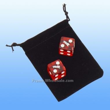 2 Dices In A Velvet Pouch