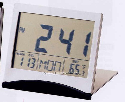 Metal Lcd Alarm Clock With Calendar & Thermometer