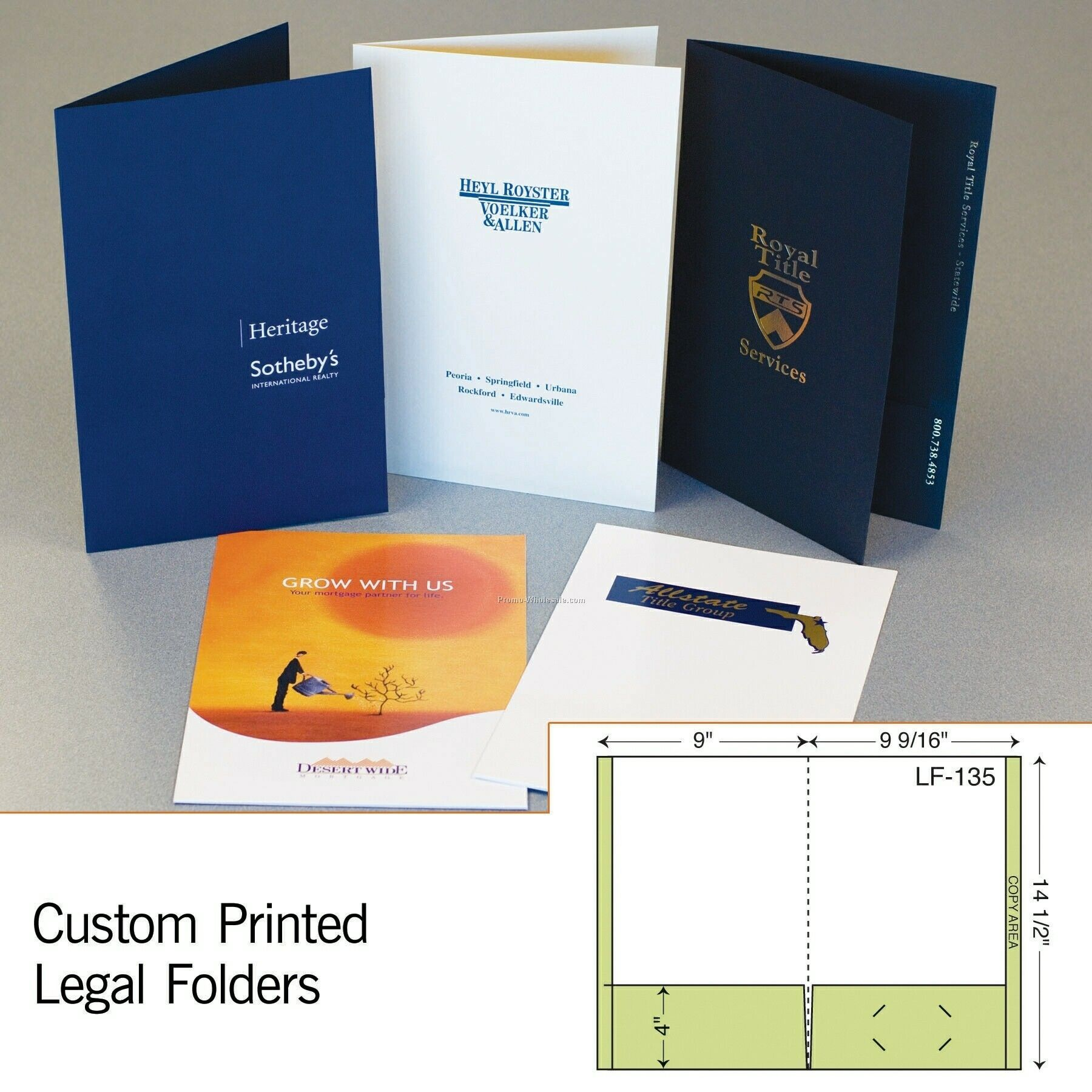 "9-1/2""x14-1/2"" Folder W/ Double Pockets (Foil Stamp/Emboss)"