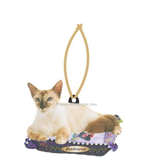 Balinese Cat Executive Line Ornament W/ Mirrored Back (12 Square Inch)