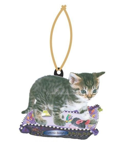 California Spangled Cat Executive Ornament W/ Mirrored Back (6 Sq. Inch)