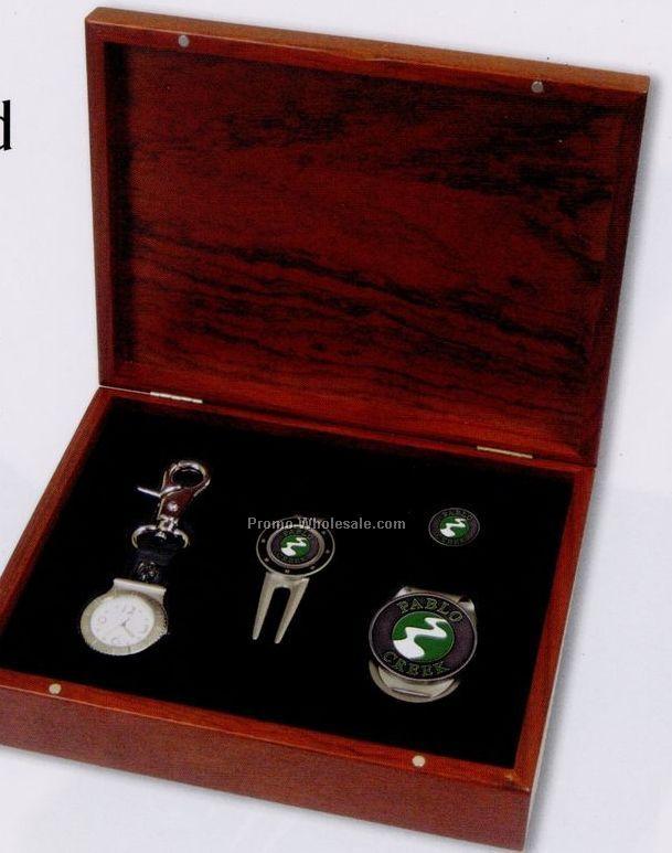 Custom Rosewood Gift Set (Watch/ Divot/ Money Clip/ Ball Marker)