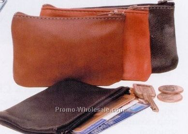 Soft Leather Zippered Pouch W/ Unlined Natural Suede Interior (Top Grain)