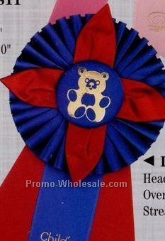 "13"" Custom Rosette Ribbon With Triple 2""x10"" Streamer"