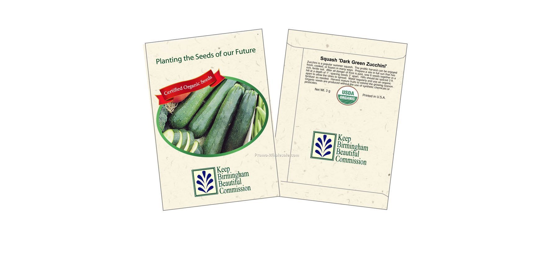 "3-1/4""x4-1/2"" Organic Squash - Dark Green Zucchini - Seed Packets (1 Color)"