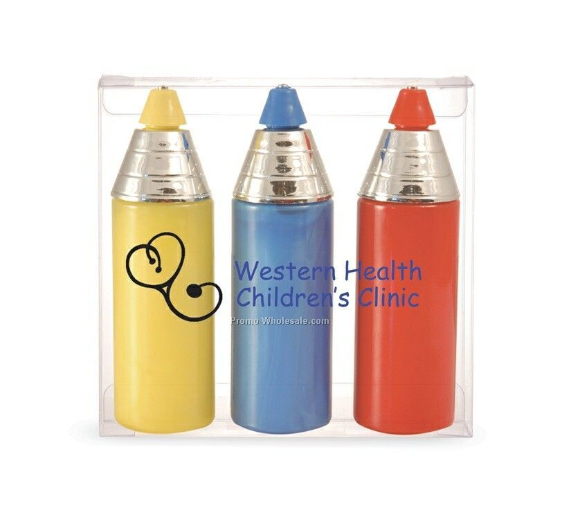 3 Crayon Shaped Finger Paint Bubble Bath Canisters