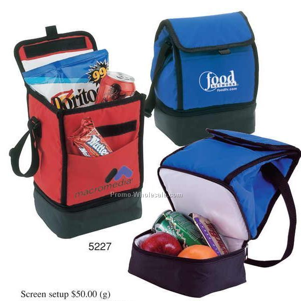 "7""x10-3/4""x5"" Vinyl Insulated Lunch Bag W/ Compartment Front Pocket"