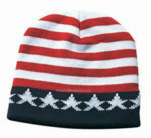 """9"""" Stars & Stripes Acrylic Knit Beanie Hat"""