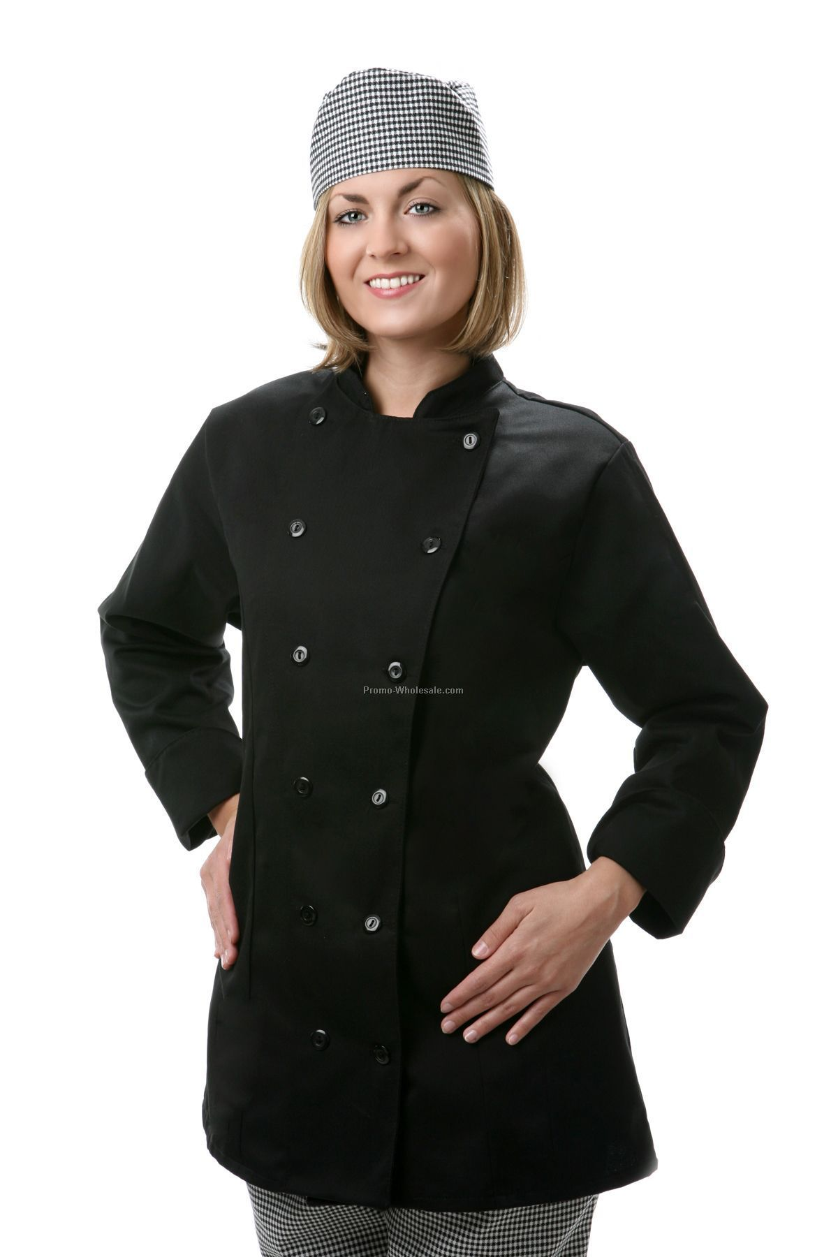Black Ladies' Fitted Chef Coat (2x-large)