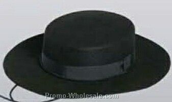 Black Wool Felt Gaucho Hat W/ Chin Strap (S-xl)