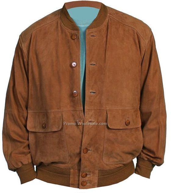 Men's Lamb Suede Leather Knit Trim Blouson Jacket - Cognac (S-2xl)