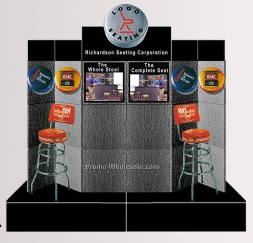 10-ft. Pedestal Base Display (18 Panel/ 2 Lt Box/ Sign)