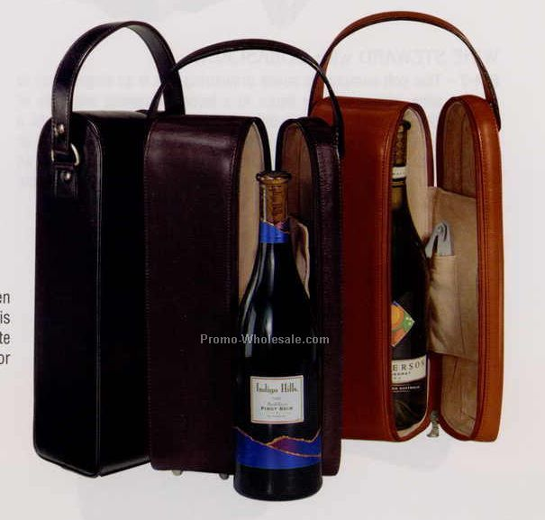 "13""x4-1/2""x3-5/8"" Manmade Leather Single Wine Case"