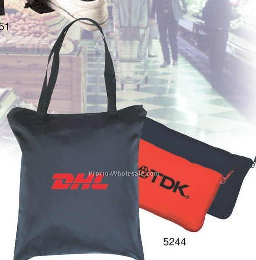 "15""x17""x1/2"" Foldable Tote Bag W/ Zipper Front Pocket"