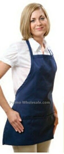 "24""x28"" Black Bib Apron W/ Rounded Bottom"