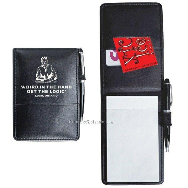 "3-1/2""x5""x1/2"" Black Sponged Vinyl Jotter Notebooks (Imprinted)"