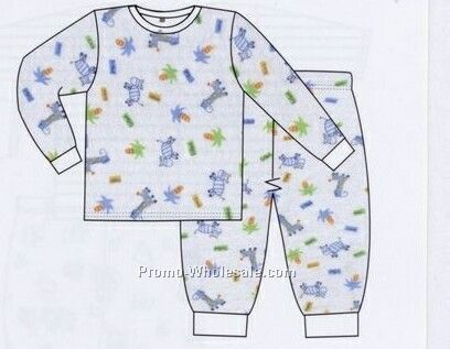 Boys Two Piece Printed Long Pj Set (Newborn-large)