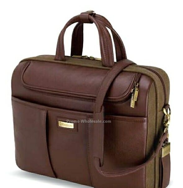 "Catania Brown Napa Leather/ Canvas Briefcase 16""x11-1/2""x4"""