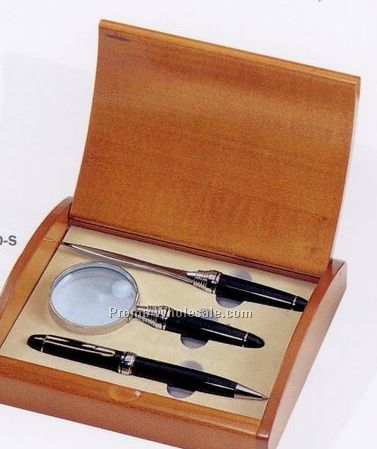 Executive Brass Pen W/ Letter Opener & Magnifier Gift Set In Wooden Box