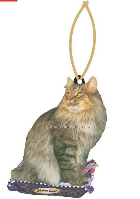 Maine Coon Cat Executive Line Ornament W/ Mirrored Back (6 Sq. Inch)