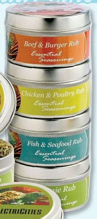 Set Of 4 Spice Rub Tins