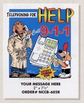 "Stock Design Safety Theme Coloring Book - Phoning Help (8-1/2""x11"")"
