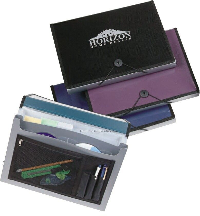 Two-tone Expanding File Portfolio With Zipper Pocket & Pen Holders
