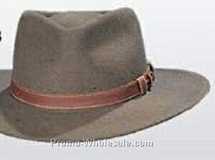 Wool Felt Crushable Pinched Fedora Hat W/ Leather Band (S-xl)