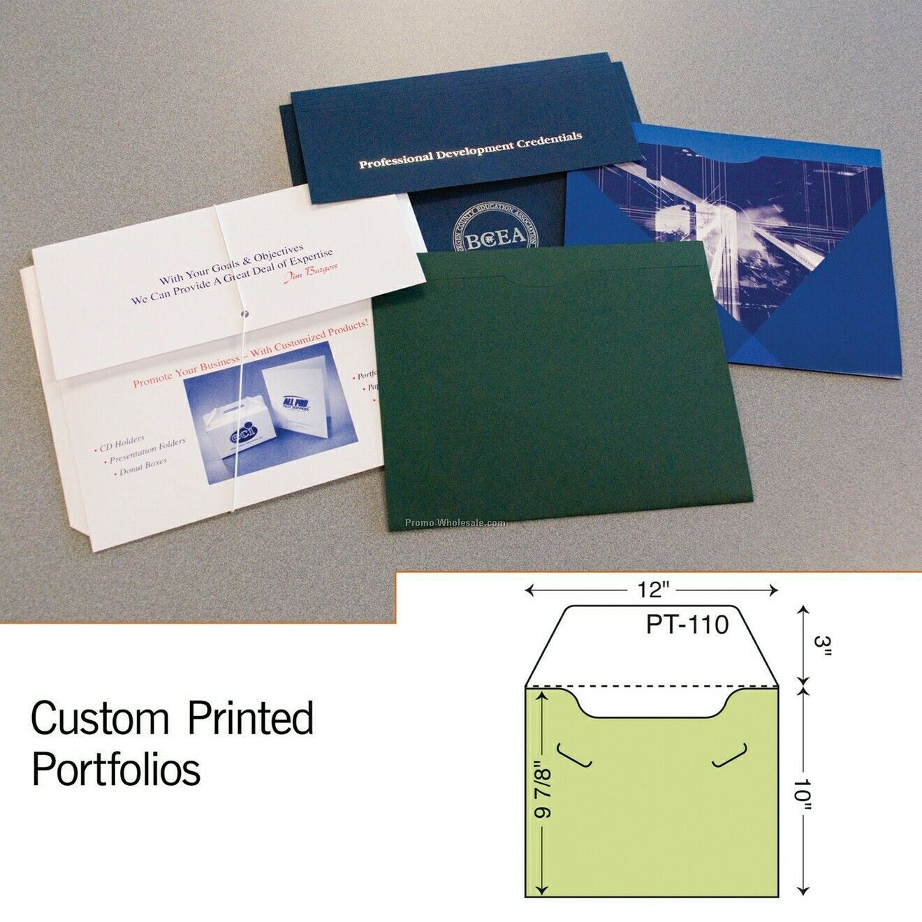 "10""x12"" Flat Portfolio W/ Locking Flap (1 Color)"