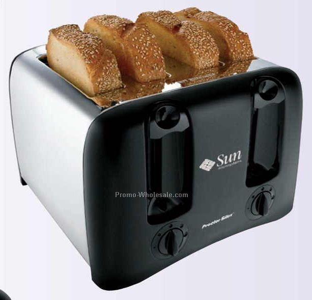 "12.31""x12.06""x8.53"" 4 Slice Cool-wall Chrome Toaster"