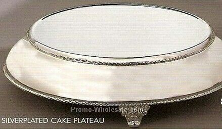 "14"" Top And 18"" Base Silver Plated Cake Plateau"