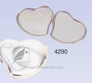 """2-1/2""""x2""""x3/8"""" Silver Plated Contour Heart Compact Mirror (Screened)"""