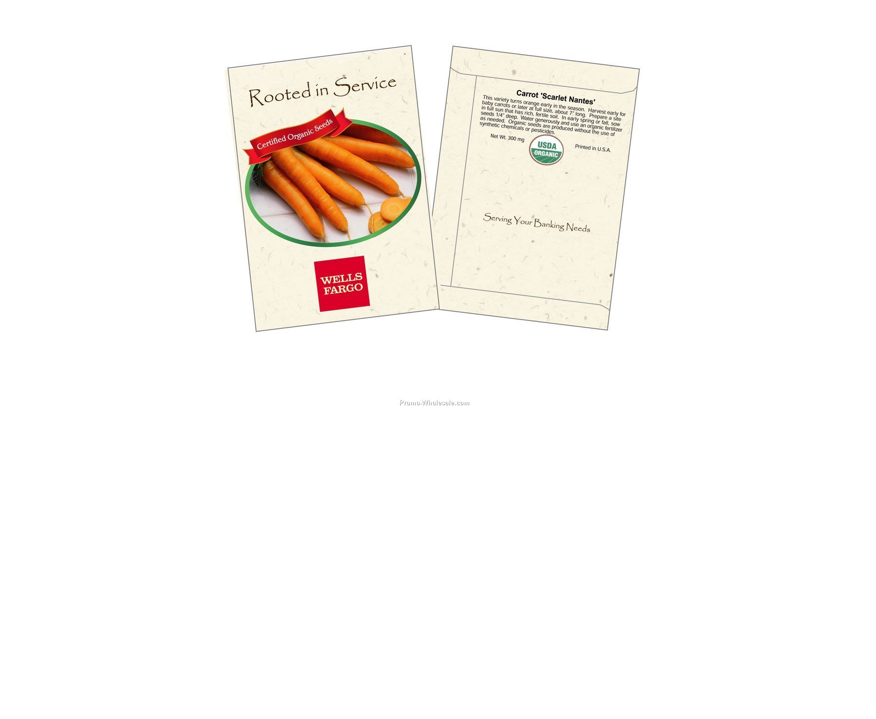 """3-1/4""""x4-1/2"""" Organic Carrot - Scarlet Nantes - Seed Packets (2 Color)"""